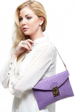 Rachael Ruddick Opera Clutch in Purple Ostrich