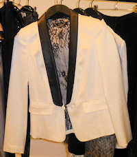Tibi Cream Tuxedo Jacket with Leather