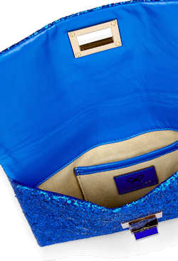 Anya Hindmarch Valorie Clutch in Blue Glitter inside