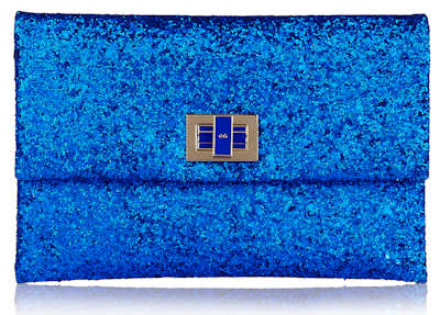 Anya Hindmarch Valorie Blue Glitter Clutch