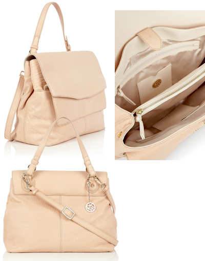 The DKNY Double Flap Shoulder Bag is a pale leather shoulder / cross body ...