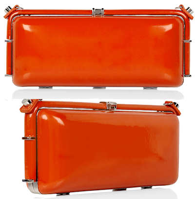 DVF Orange Leather Box Clutch