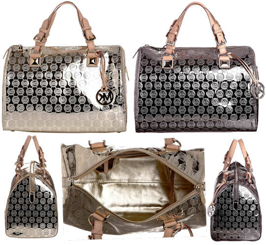 Michael Kors Gold And Silver Grayson Bags