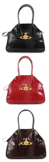 Vivienne Westwood Large Chancery Mock Croc Bags in Black Red or Brown