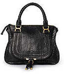 Chloe Marcie Medium Shoulder Bag in Black Python