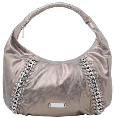 Michael by Michael Kors Silver Hobo Bag with Chain Detail