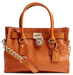 Michael by Michael Kors East West Hamilton Satchel in Tangerine Ostrich