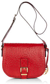Michael by Michael Kors Ostrich Saddle Bag in Red