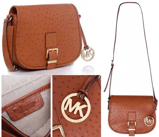 Michael by Michael Kors Ostrich Saddle Bag