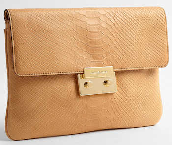 Michael by Michael Kors Sloan Clutch in Tan Python Print Leather