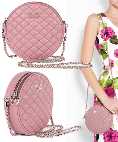 d and g lily glam round pink quilted bag