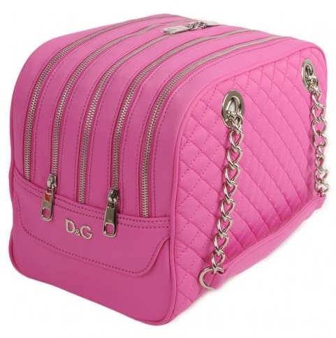 D&G Lily Glam 5 Zip Nylon Quilted Bag in Pink