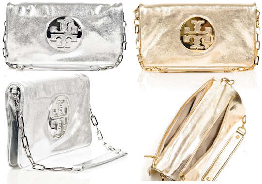 Tory Burch Reva Metallic Clutch Bag
