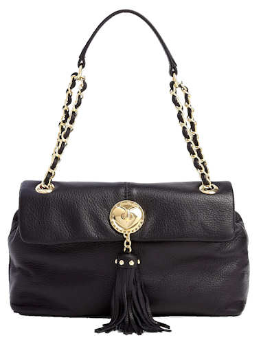 Love Moschino Black Leather Tassel Flap Over Bag