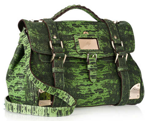 Mulberry Travel Day Bag in Green Lizard Print