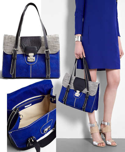 Carven Blue Cracked Leather Flap Over Bag