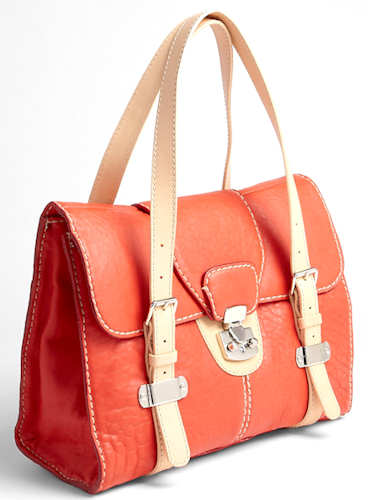 Carven Flap Top Shoulder Bag in Coral