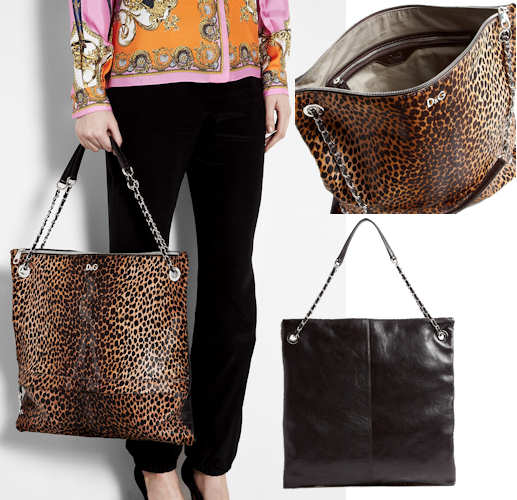 D and G Leopard Print Haircalf Tote Bag