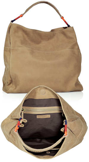 Vanessa Bruno Leather Hobo Bag in Beige