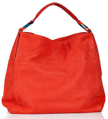 Vanessa Bruno Leather Hobo Bag in Coral