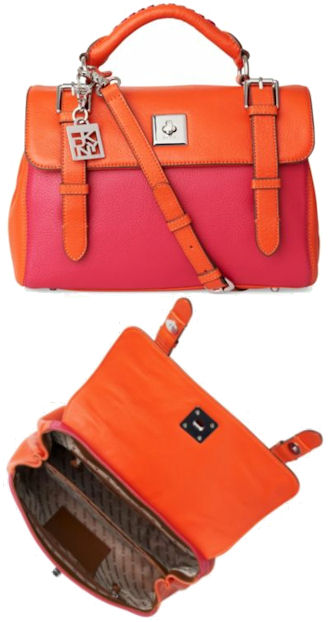 DKNY Crosby Colour Block Pink and Orange Satchel