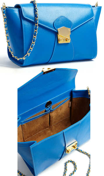 Aila Blue Clutch Bag with Gold Chain Strap