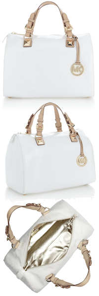 Michael Michael Kors White Patent Leather Grayson Bag
