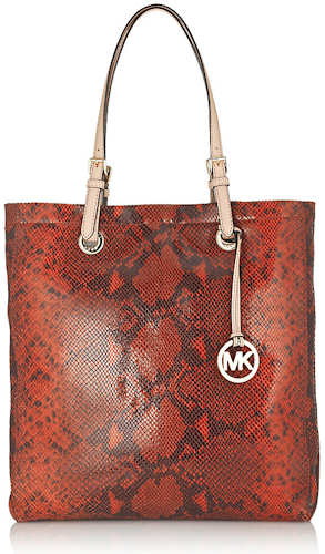 Michael by Michael Kors Jet Set Python Tote in Red