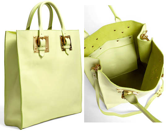 Sophie Hulme Lime Leather Tote Bag
