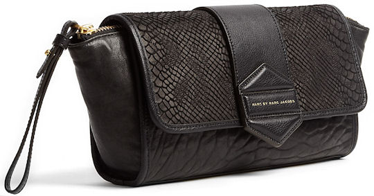 Marc by Marc Jacobs Flipping Out Black Snake Clutch