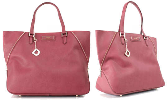 DKNY Burgundy Zip Side Leather Tote Bag