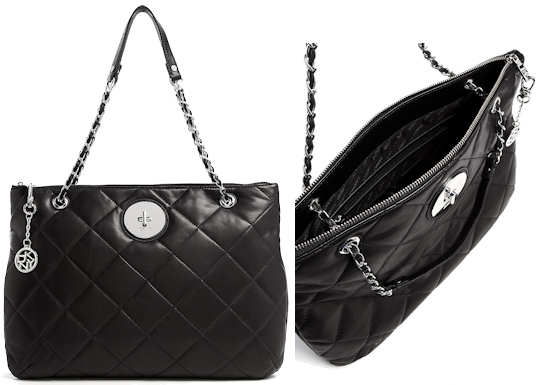 c586a5703 DKNY Quilted Black Leather Tote Bag