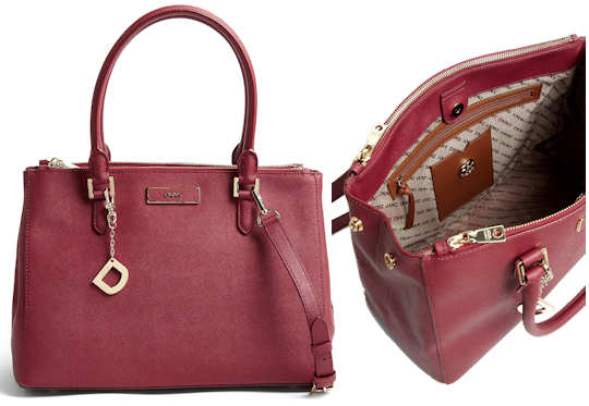 DKNY Saffiano Leather Tote Bag in Burgundy