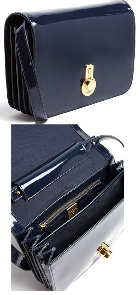 Raoul Janice Navy Patent Leather Shoulder Bag