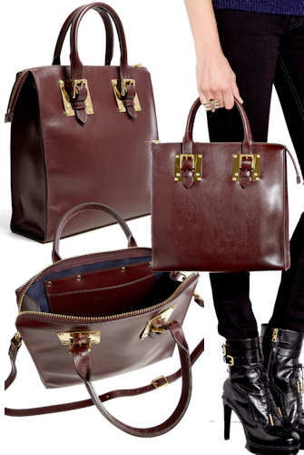 Sophie Hulme Burgundy Zip Top Tote Bag